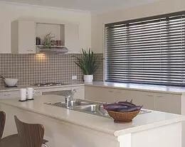 Security Screens QLD Window Coverings Blinds, Shutters & Curtains - Timber Venetian Blinds Dark Kitchen